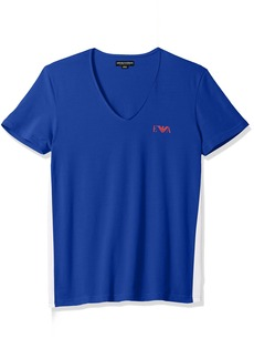 Emporio Armani Men's Stretch Cotton Colorblock V-Neck T-Shirt