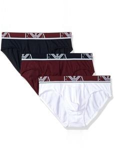 Emporio Armani Men's Stretch Cotton EA 3 Pack Brief  L