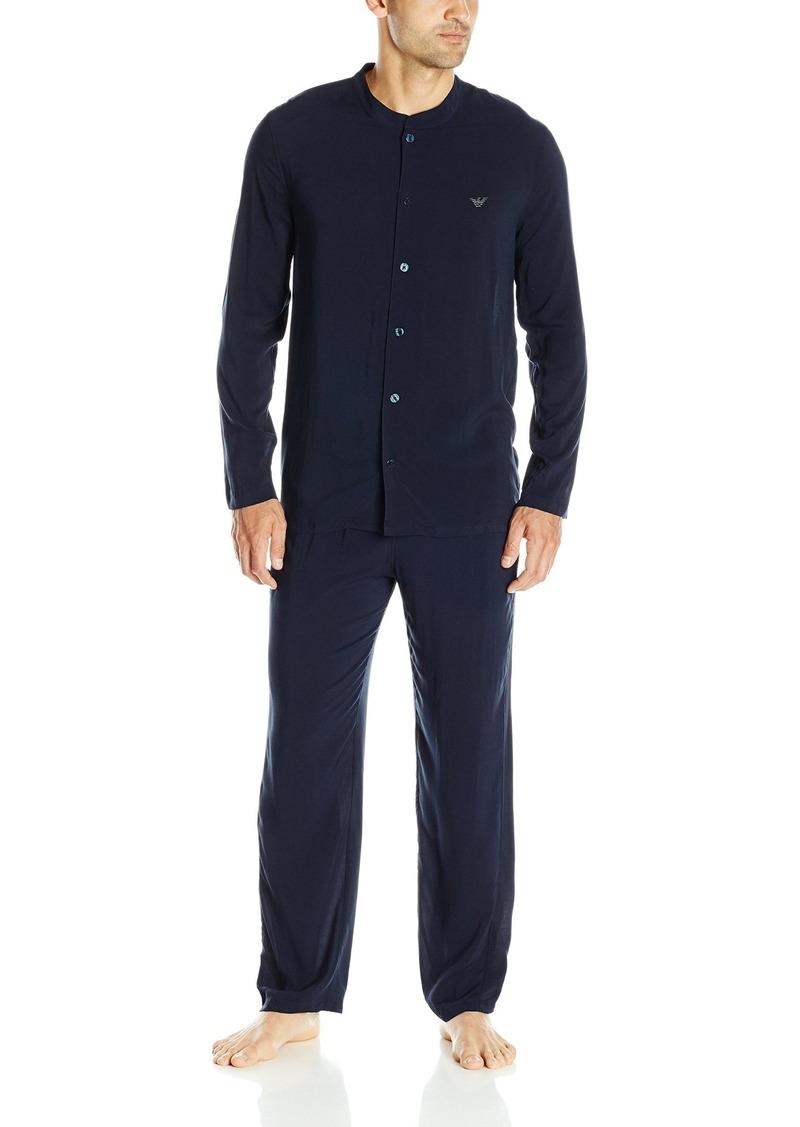 Emporio Armani Men's Tonal Collection Viscose Long Sleeve Pajama Set