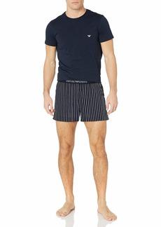 Emporio Armani Men's Yarn Dyed Woven Short Pajamas  XXL