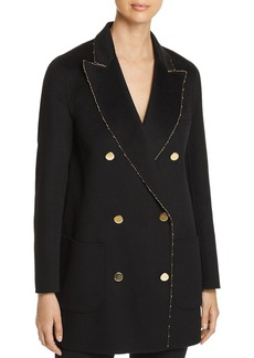 Emporio Armani Metallic-Trimmed Double-Breasted Wool Coat
