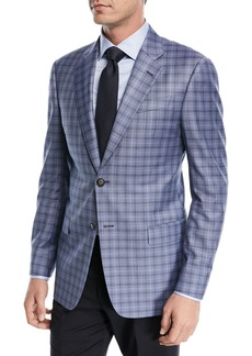 Armani Plaid Wool Two-Button Jacket