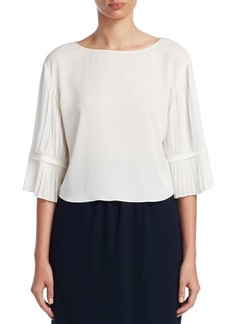Armani Pleated Bell-Sleeve Blouse