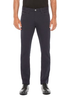 Emporio Armani Regular Fit Solid Blue Stretch Trousers