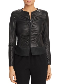 Emporio Armani Ruched Leather Peplum Jacket