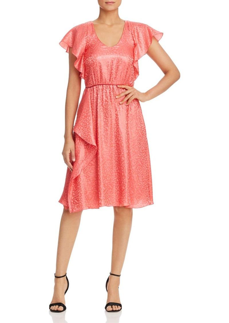 Emporio Armani Ruffled Animal-Pattern Jacquard Dress