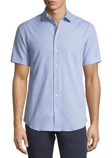 Armani Seersucker Short-Sleeve Sport Shirt