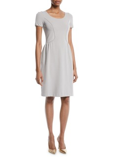 Armani Short-Sleeve Round-Neck Ottoman Knit Sheath Dress