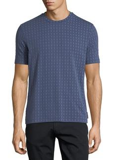 Armani Short-Sleeve Squared Pattern Crewneck T-Shirt