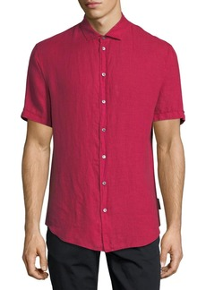 Armani Short-Sleeve Woven Linen Shirt