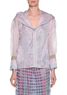 Silk Organza Zip-Front Hooded Anorak Jacket