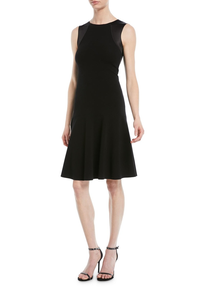 Armani Sleeveless Round-Neck A-Line Ottoman Knit Dress w/ Satin Combo