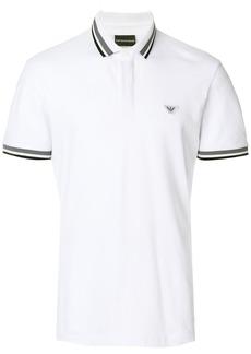 Emporio Armani stripe trim polo shirt - White