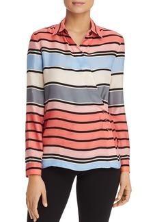 Emporio Armani Striped Crossover Silk Shirt