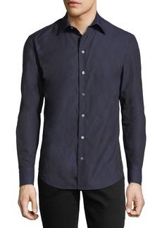 Armani Tonal-Print Slim-Fit Sport Shirt