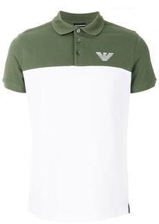 Emporio Armani two-tone logo polo shirt - White