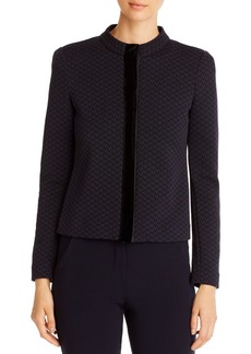 Emporio Armani Velvet-Trimmed Geo-Pattern Jacket