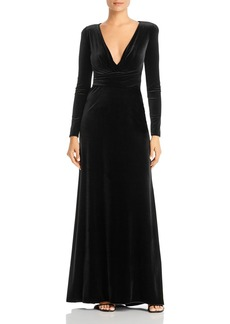 Emporio Armani Velvet V-Neck Gown