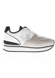 Emporio Armani White Polyester & Suede Thick Sneakers