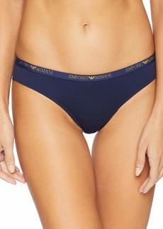 Emporio Armani Women's Basic Cotton Brazilian Brief deep Blue