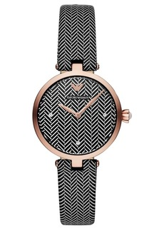 Emporio Armani Women's Black & White Leather Strap Watch 32mm