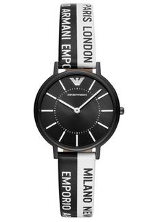 Emporio Armani Women's Black & White Logo Silicone Strap Watch 32mm