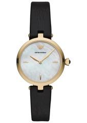 Emporio Armani Women's Black Leather Strap Watch 32mm