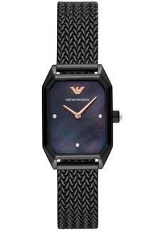 Emporio Armani Women's Black Stainless Steel Mesh Bracelet Watch 24x35mm