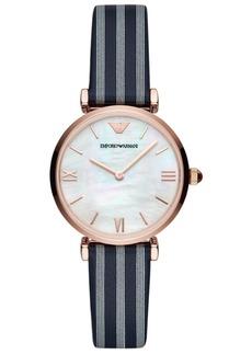 Emporio Armani Women's Blue Striped Leather Strap Watch 32mm