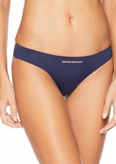 Emporio Armani Women's Bonding Microfiber Thong deep Blue
