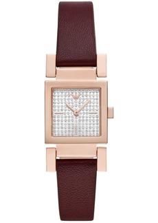 Emporio Armani Women's Burgundy Leather Strap Watch 22x22mm