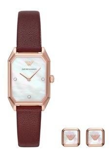 Emporio Armani Women's Burgundy Leather Strap Watch 24x35mm Gift Set