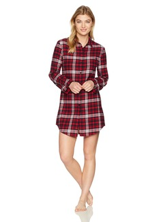 Emporio Armani Women's Flannel Night Dress Marine/red/White Check M