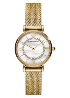 Emporio Armani Women's Gold-Tone Stainless Steel Mesh Bracelet Watch 32mm