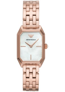 Emporio Armani Women's Rose Gold-Tone Stainless Steel Bracelet Watch 24x36mm