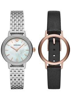 Emporio Armani Women's Stainless Steel Bracelet & Black Leather Strap Watch 32mm Gift Set