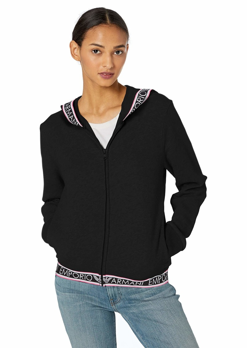 Emporio Armani Women's Stretch Cotton Full Zip Jacket and Hood