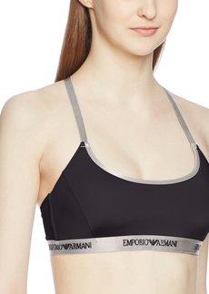 Emporio Armani Women's Visibility Microfiber Adjustable Padded Sport Bra  L