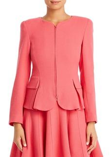 Emporio Armani Wool Peplum Zip Blazer