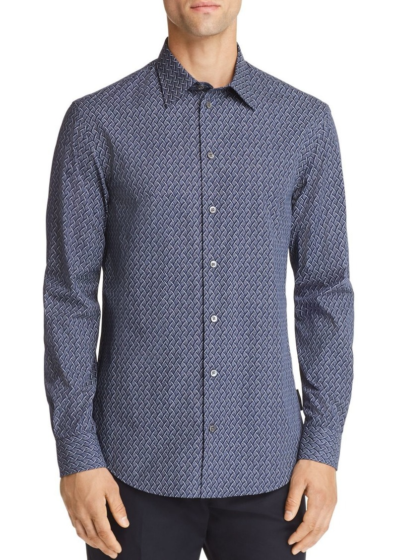 Emporio Armani Woven Print Regular Fit Button-Down Shirt
