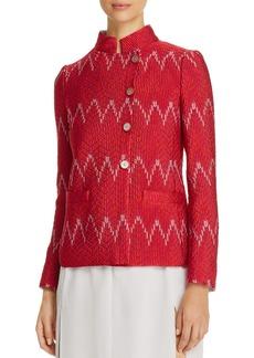Emporio Armani Zigzag-Pattern Asymmetric-Button Jacket