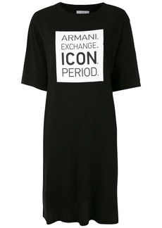 Armani Exchange slogan box print T-shirt dress