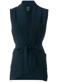 Armani Exchange belted sleeveless jacket - Blue