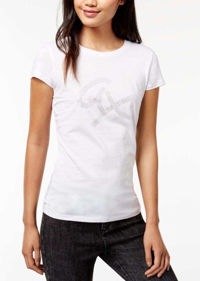 2f07b51ee Armani Exchange Armani Exchange Cotton Rhinestone-Graphic T-Shirt ...