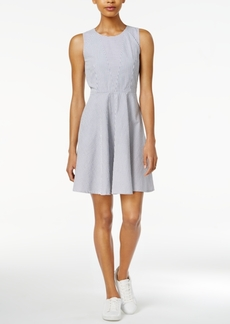 Armani Exchange Cotton Seersucker Fit & Flare Dress, Created for Macy's