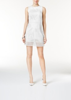 Armani Exchange Cotton Tiered Perforated-Detail Dress