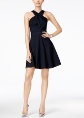 Armani Exchange Cross-Front Fit & Flare Dress