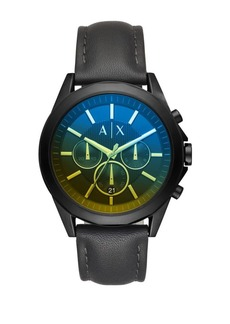 Armani Exchange Drexler Chronograph Leather Strap Watch