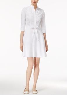 Armani Exchange Eyelet-Trim Belted Shirtdress