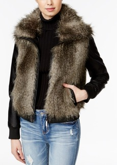 Armani Exchange Faux-Fur Mixed-Media Jacket